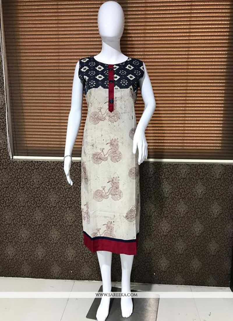 Cream Cotton   Party Wear Kurti