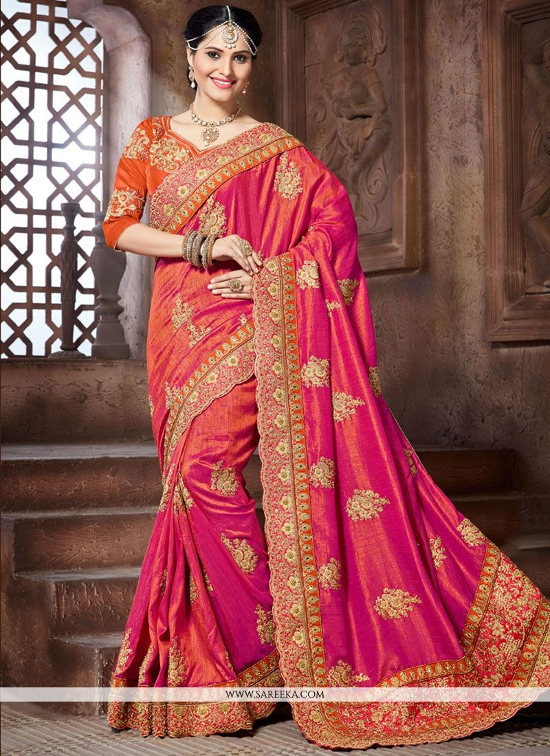 Patch Border Work Crepe Silk Shaded Saree