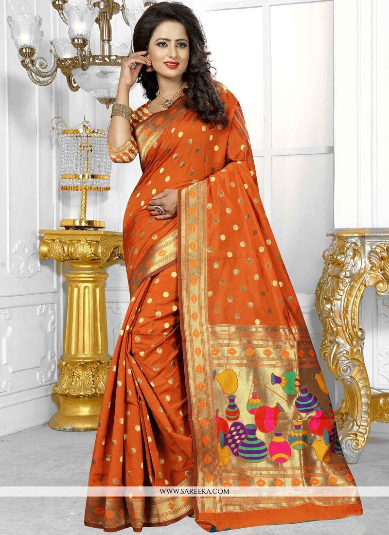 Weaving Work Orange Traditional  Saree