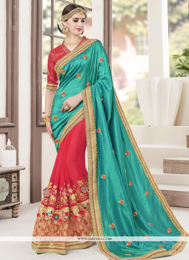 Rose Pink and Turquoise Designer Half N Half Saree