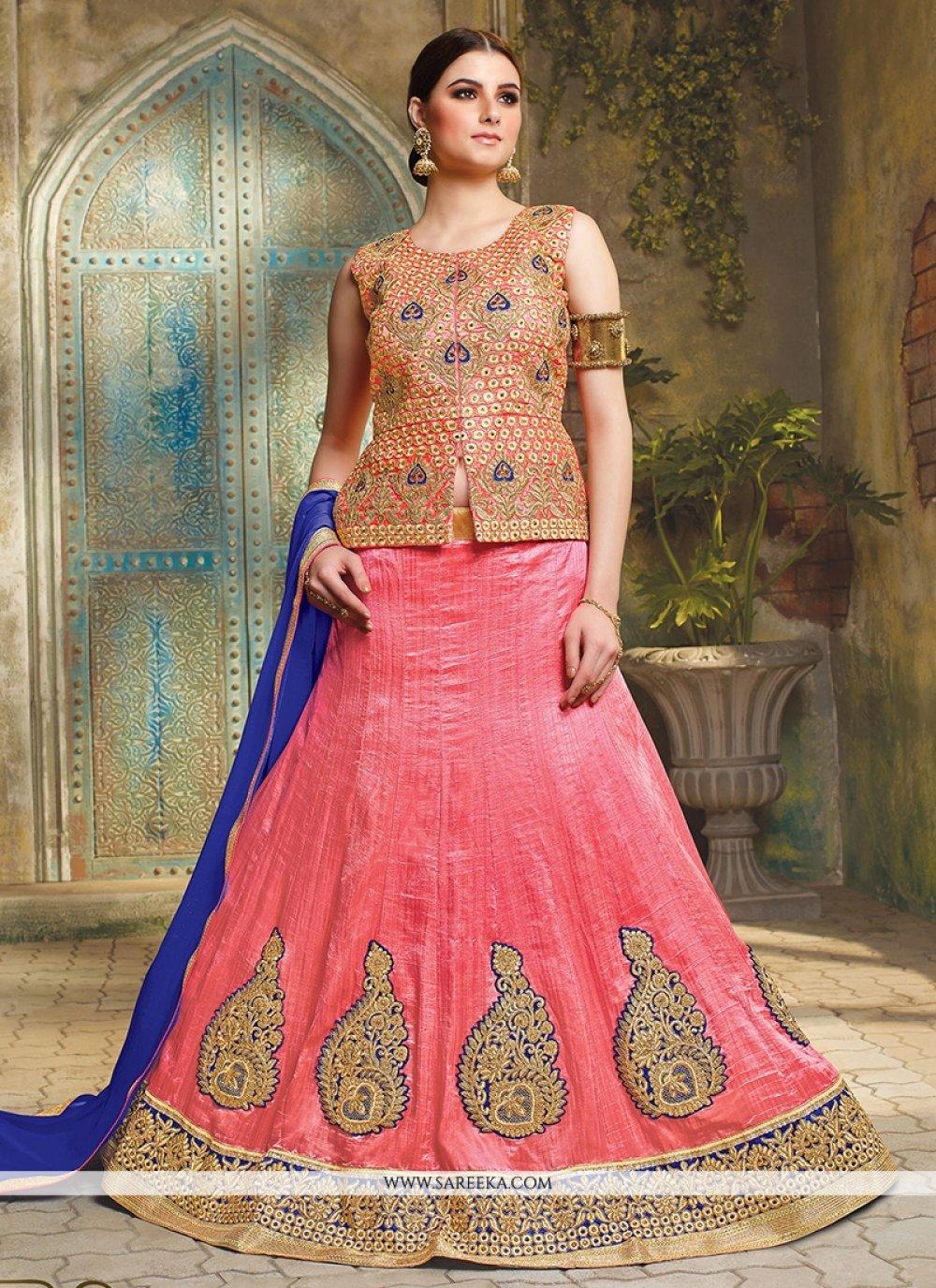 Rose Pink Art Silk Lehenga Choli