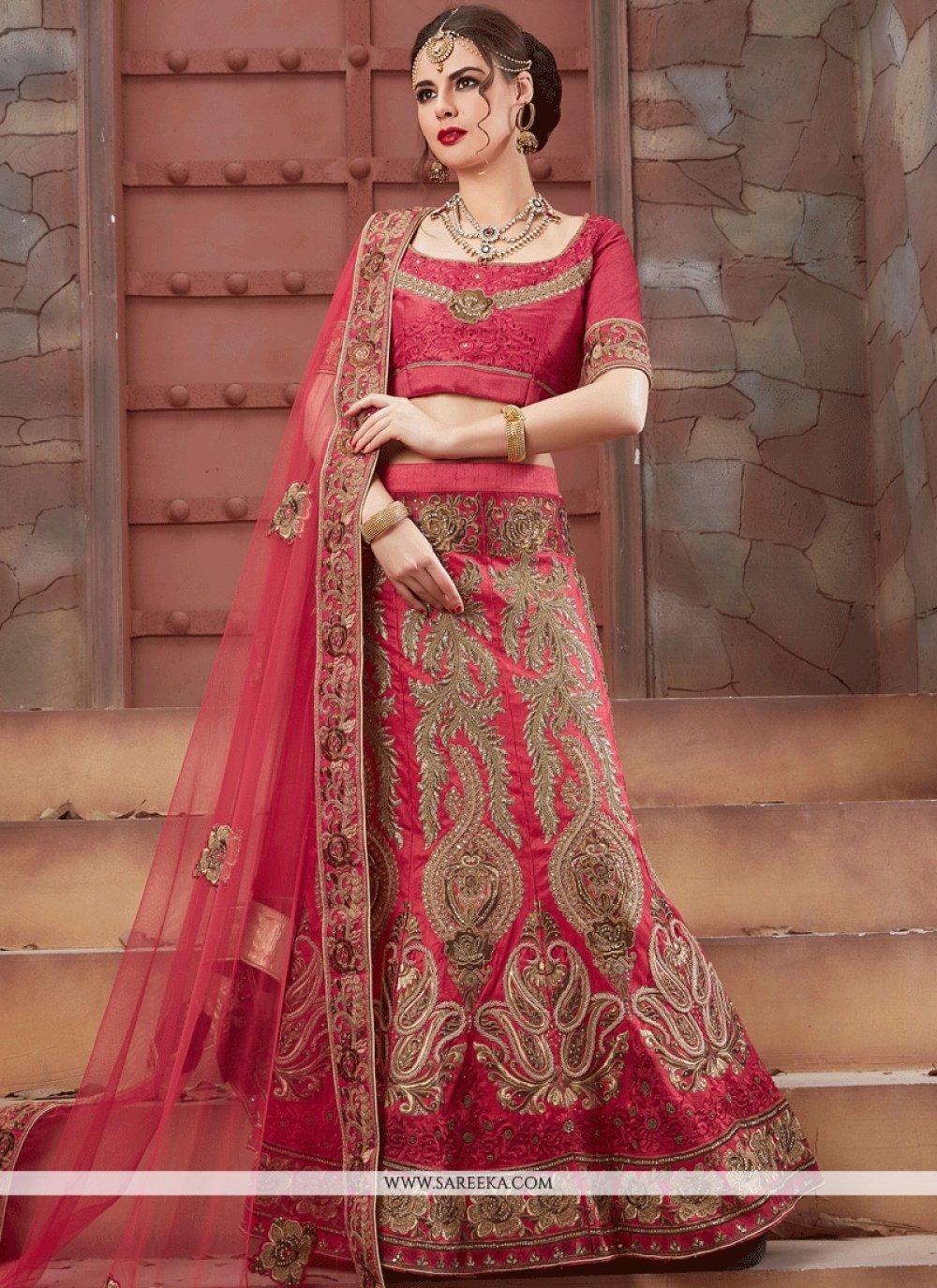 Rose Pink Embroidered Work Art Silk Lehenga Choli