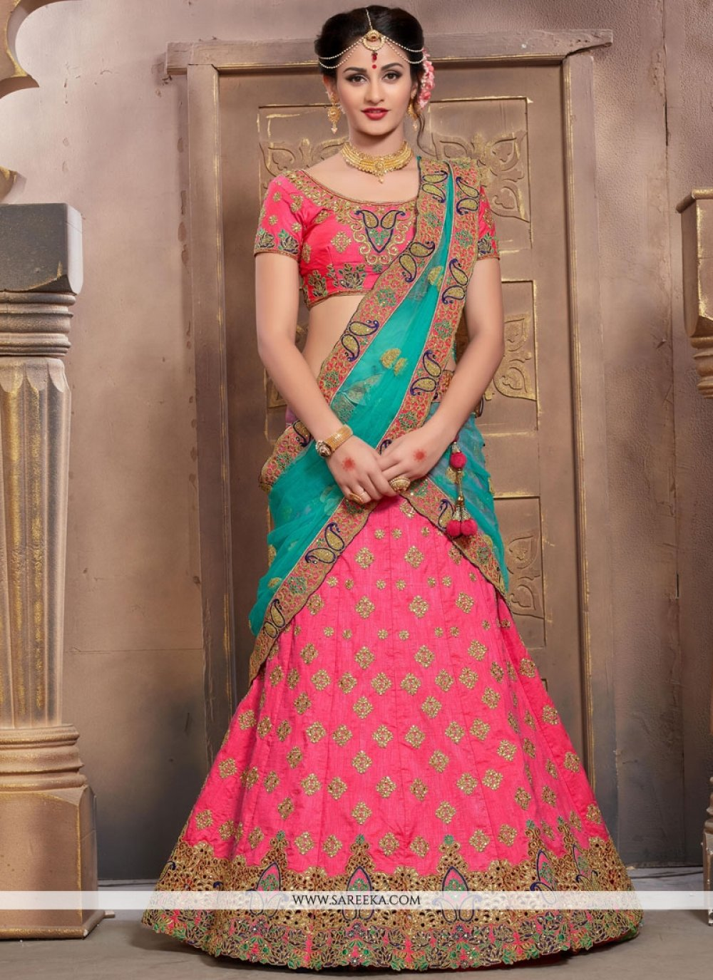 Rose Pink Embroidered Work Lehenga Choli