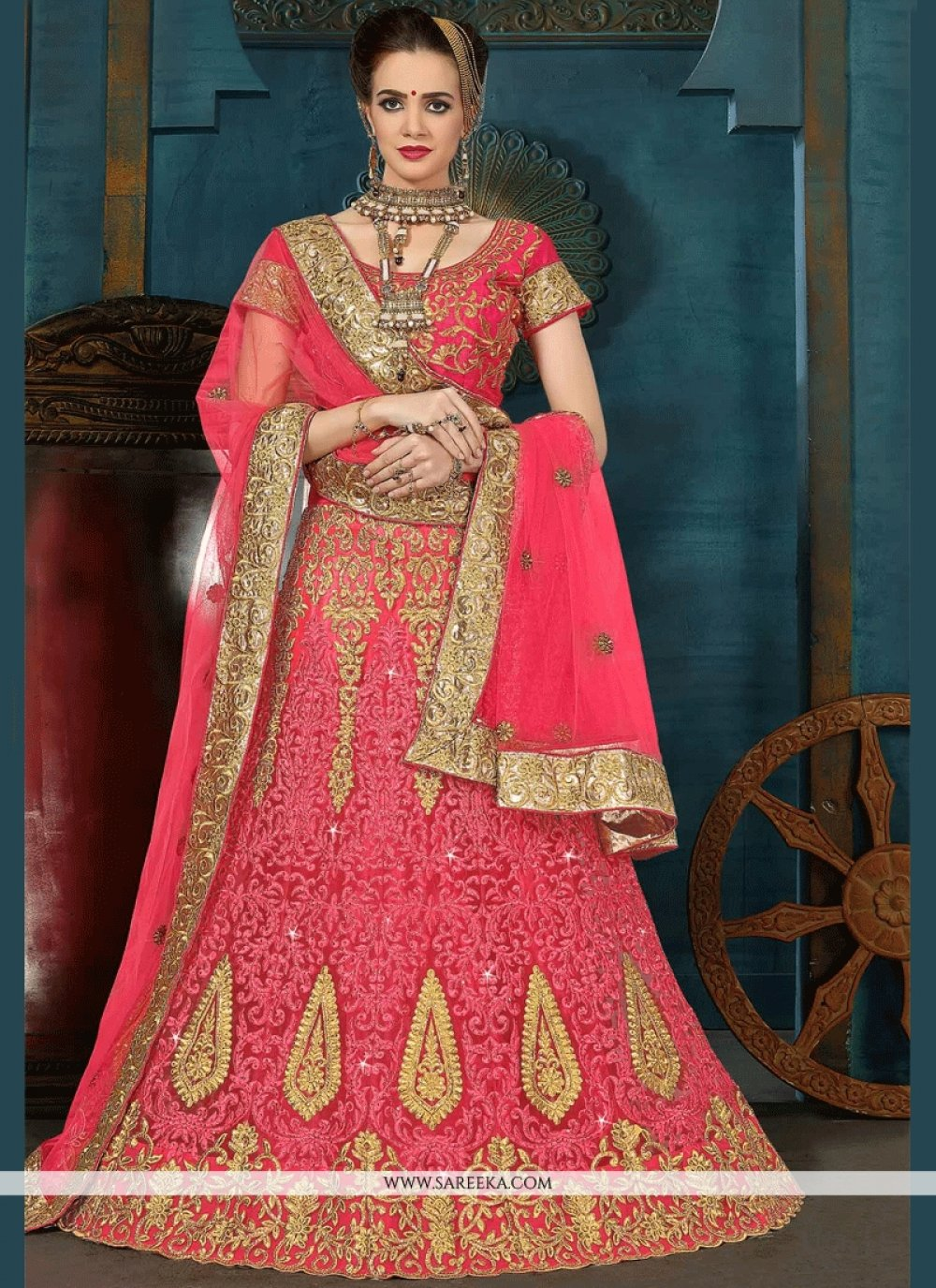 Rose Pink Embroidered Work Net Lehenga Choli