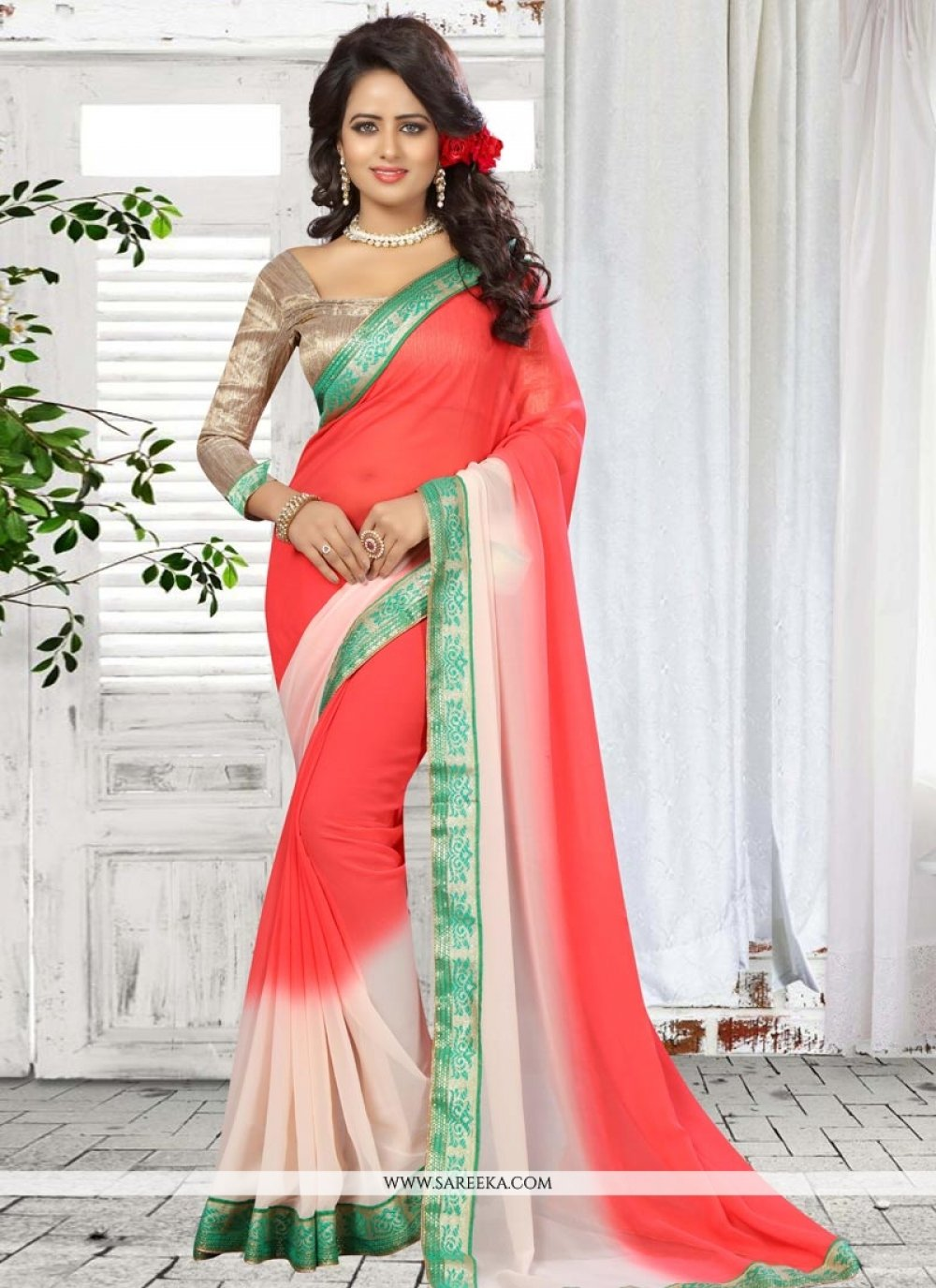Rose Pink Patch Border Work Faux Georgette Shaded Saree