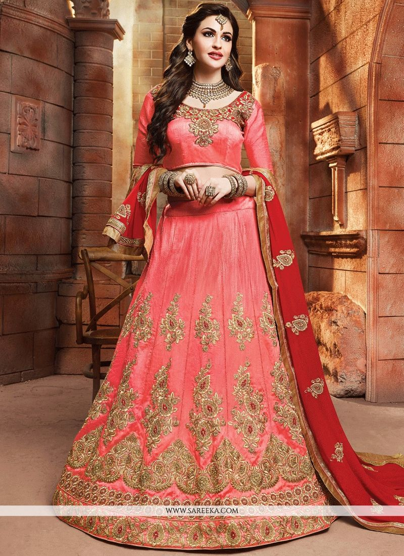 Rose Pink Resham Work Art Silk Lehenga Choli