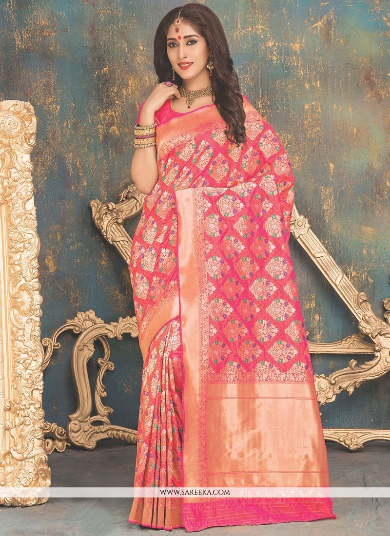 Rose Pink Weaving Work Banarasi Silk Traditional  Saree
