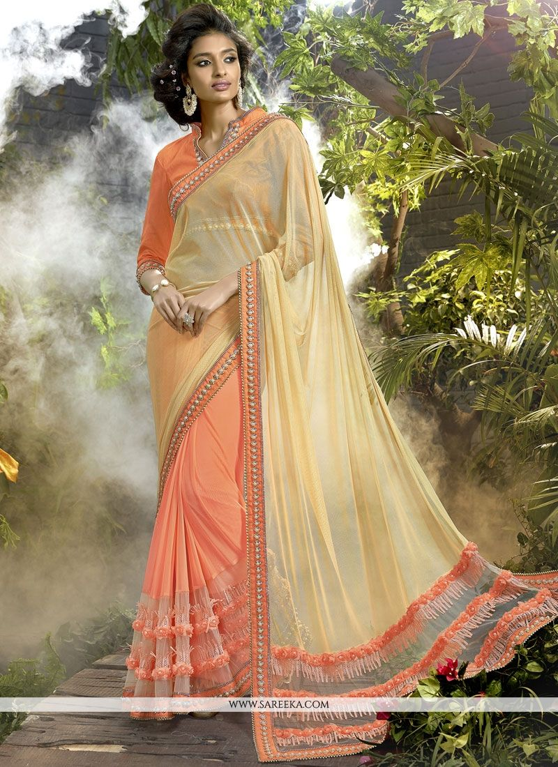 Beige and Orange Embroidered Work Designer Half N Half Saree