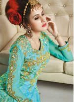 Embroidered Work Turquoise Art Silk Designer Floor Length Suit