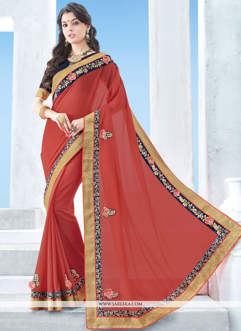 Faux Chiffon Patch Border Work Saree