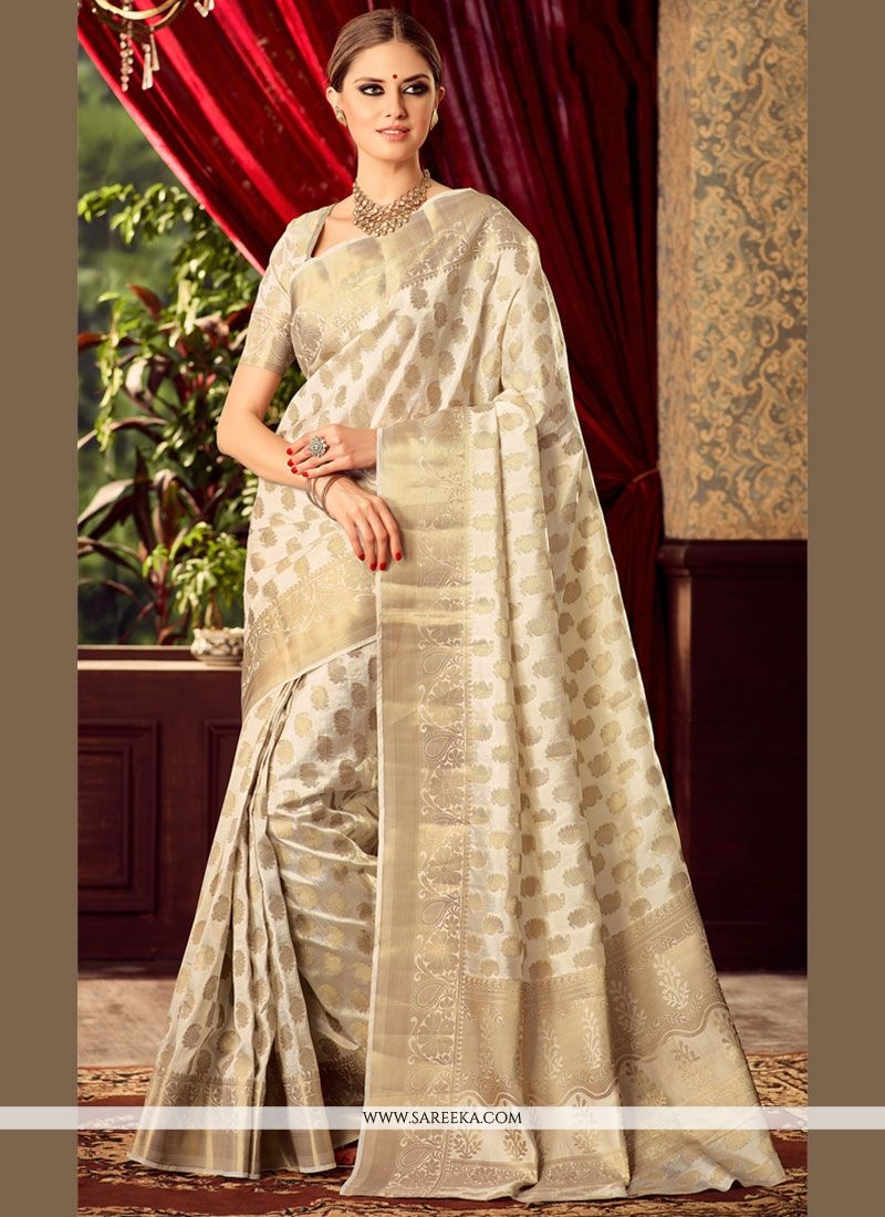 Buy Royal Off White Raw Silk Designer Traditional Sarees