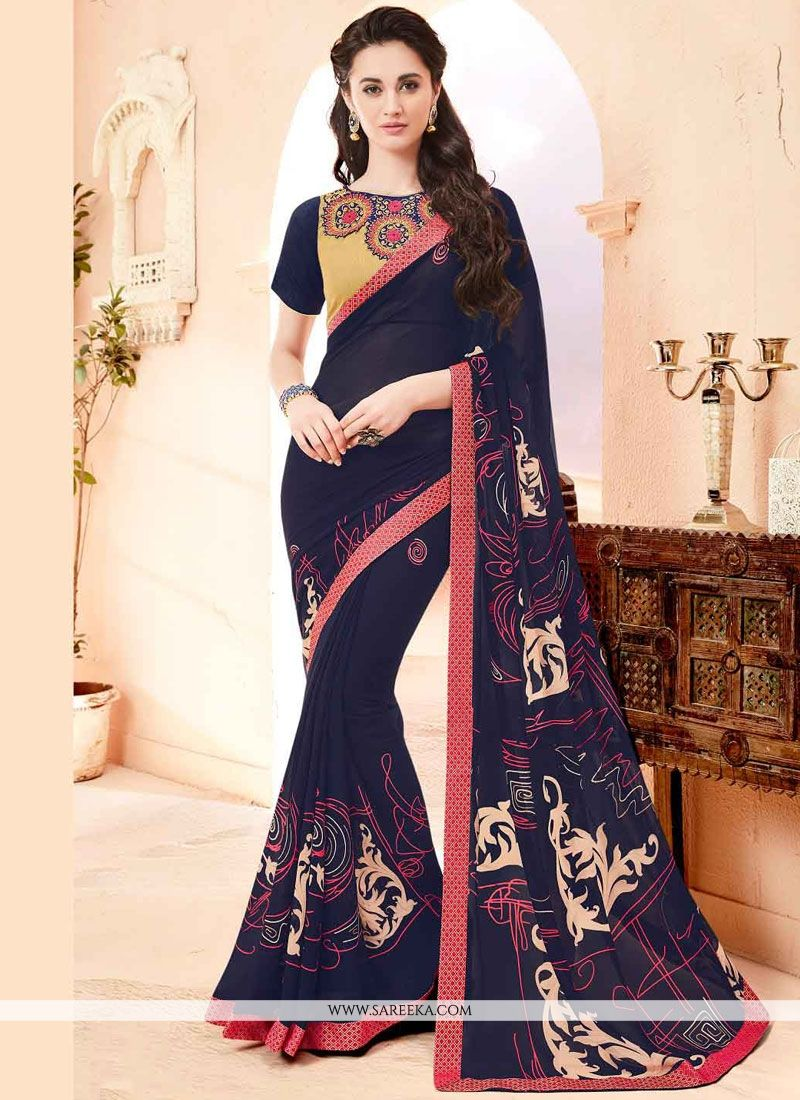 Print Work Navy Blue Faux Georgette Printed Saree
