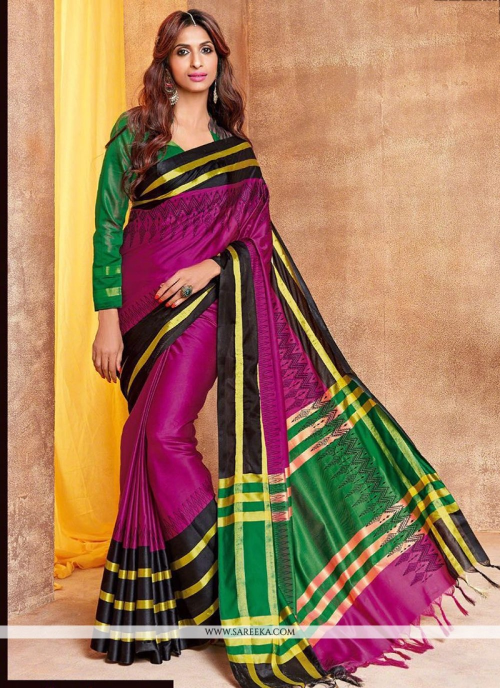Cotton Silk Magenta Traditional  Saree