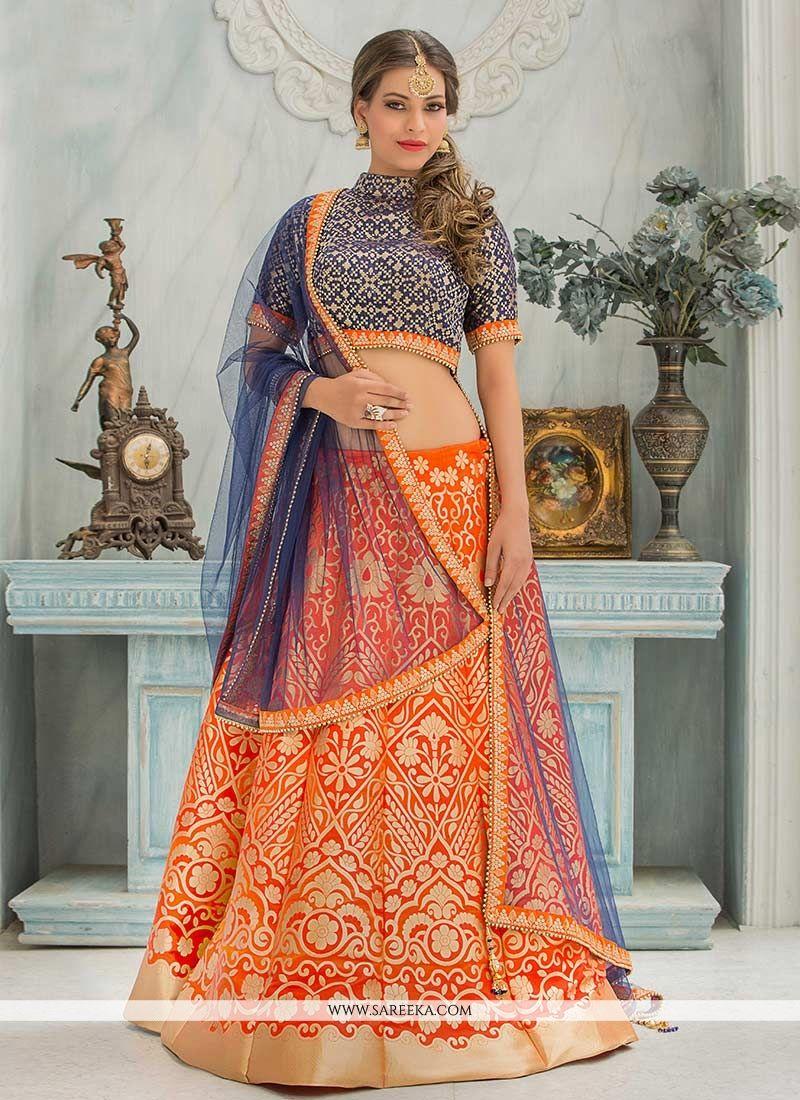 Patterns Work Orange and Navy Blue Lehenga Choli