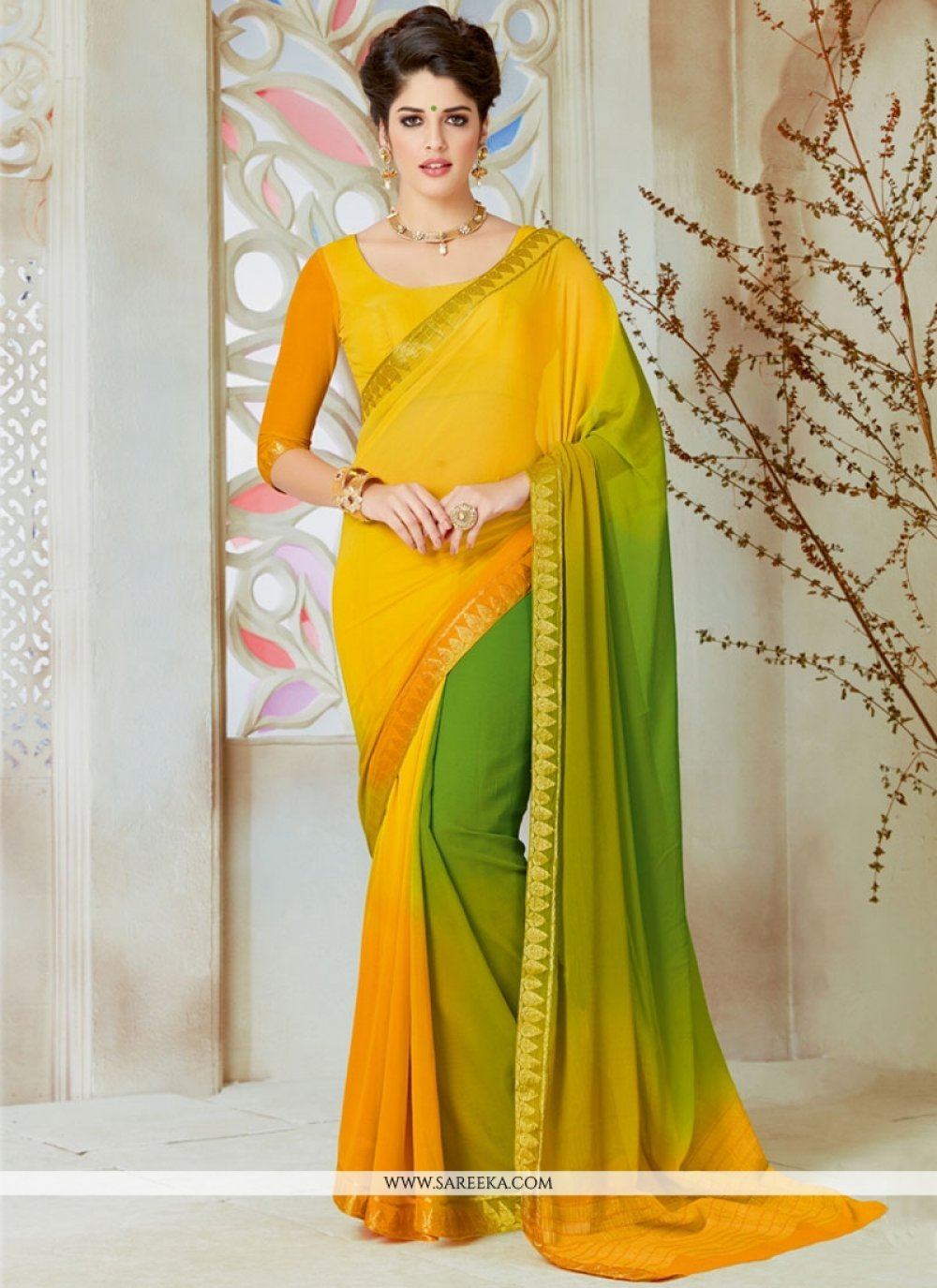 Green and Yellow Lace Work Shaded Saree