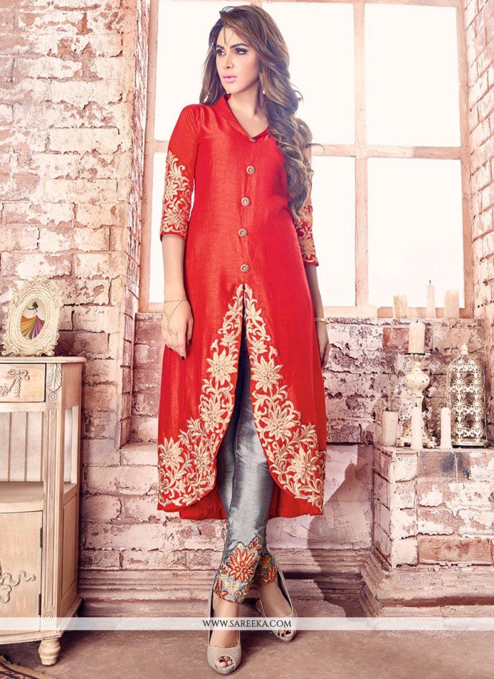 Resham Work Bhagalpuri Silk Designer Suit