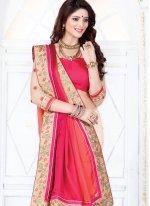 Satin Beige and Hot Pink Half N Half Designer Saree