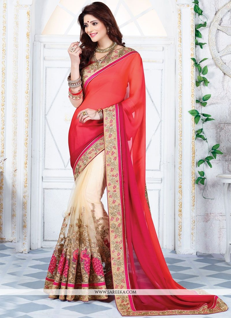 Satin Beige and Hot Pink Half N Half Designer Saree
