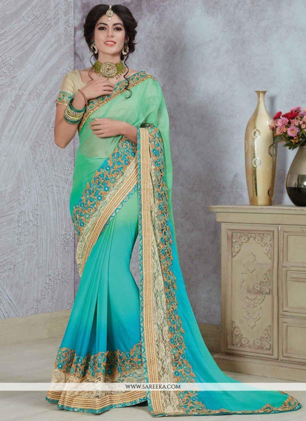 Satin Blue and Sea Green Shaded Saree