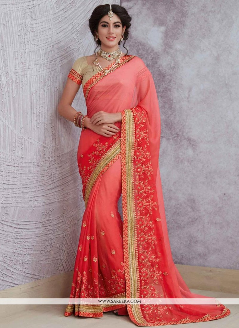 Satin Red and Rose Pink Shaded Saree