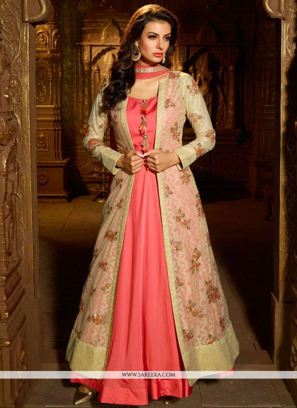 Satin Silk Pink Readymade Suit