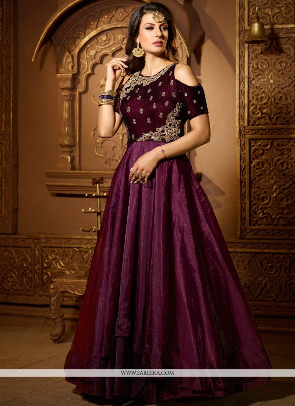 Satin Silk Purple Sequins Work Readymade Suit