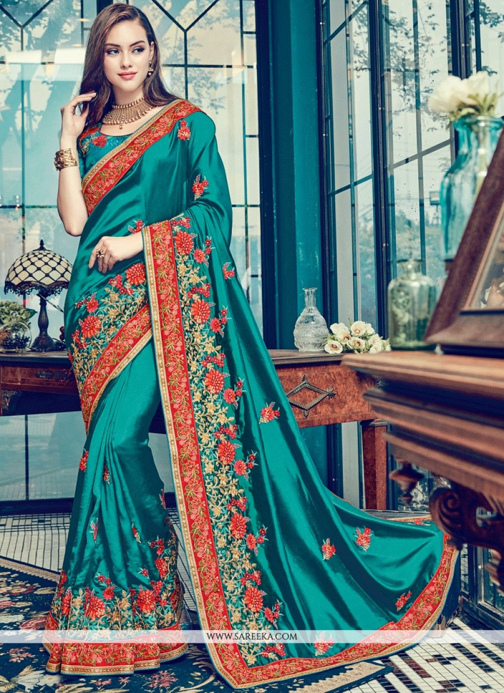 Satin Silk Teal Patch Border Work Designer Traditional Saree
