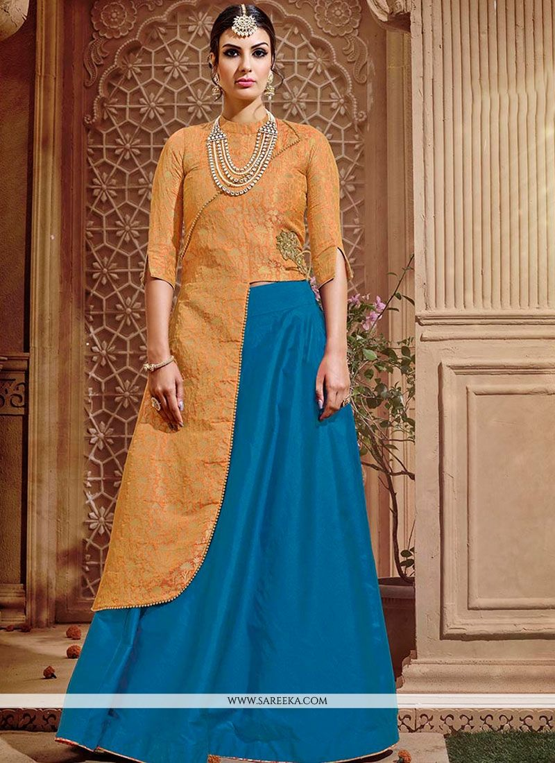 Blue Embroidered Work Banarasi Silk Long Choli Lehenga