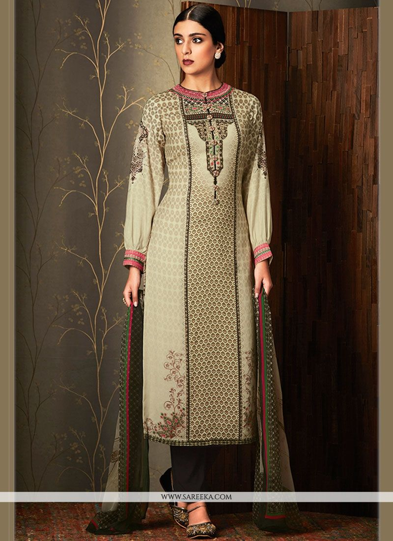 Cotton   Beige and Brown Embroidered Work Pant Style Suit