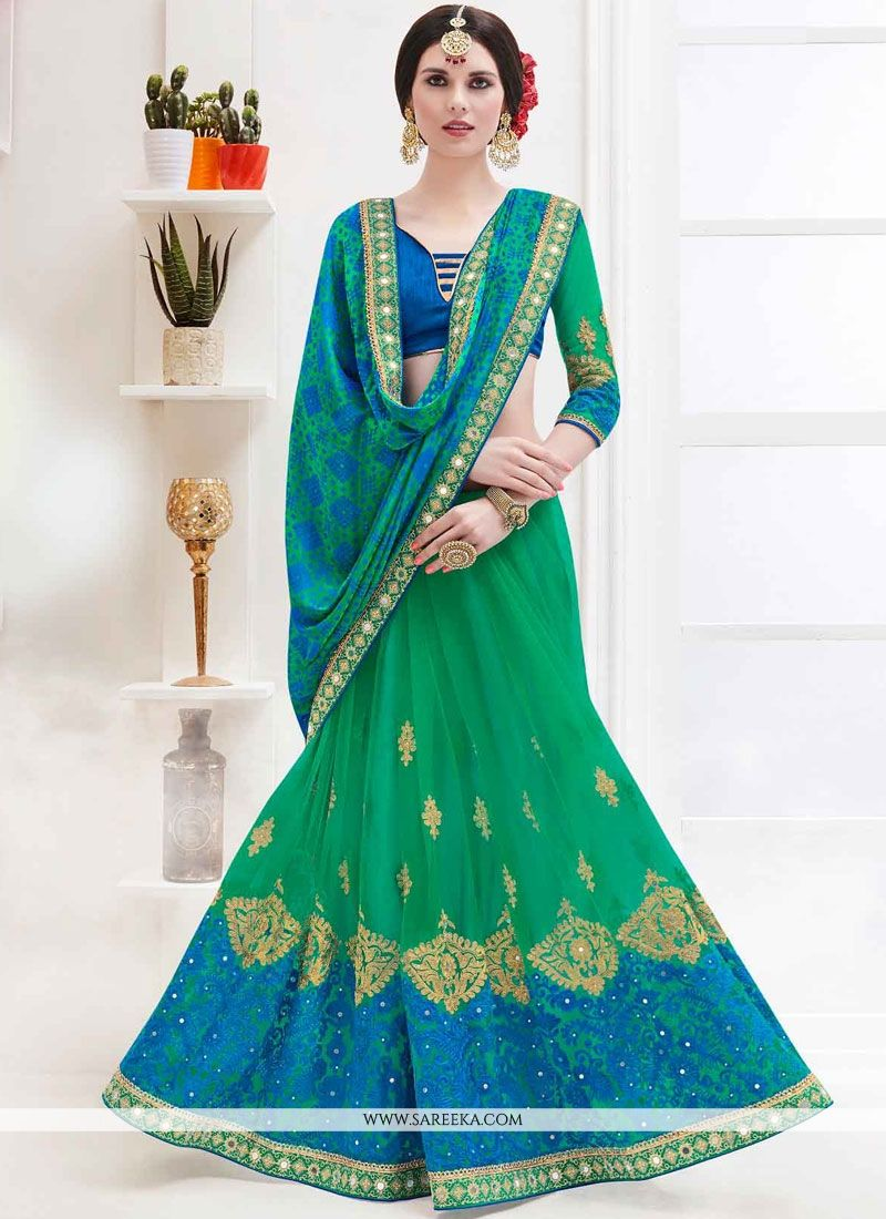 Embroidered Work Net Half N Half Trendy Saree