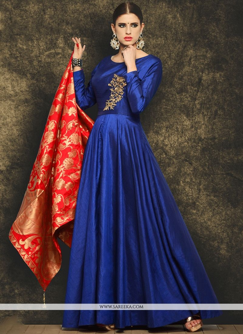 Lace Work Blue Art Silk Readymade Anarkali Suit