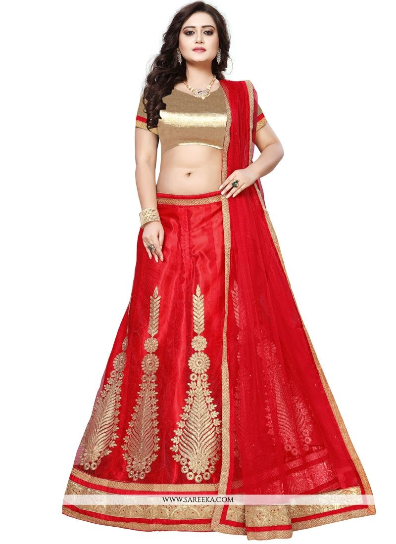 Net Red Embroidered Work Lehenga Choli