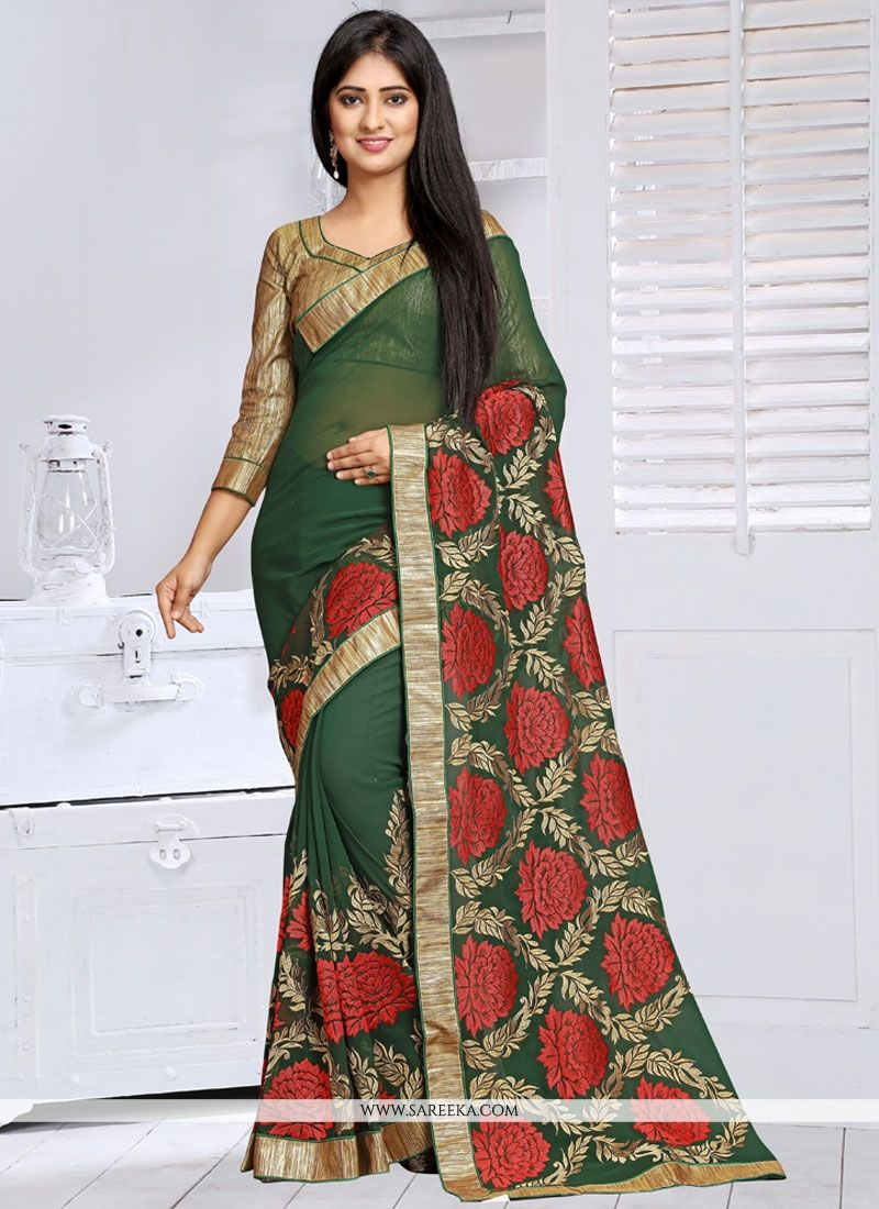 Patch Border Work Designer Saree