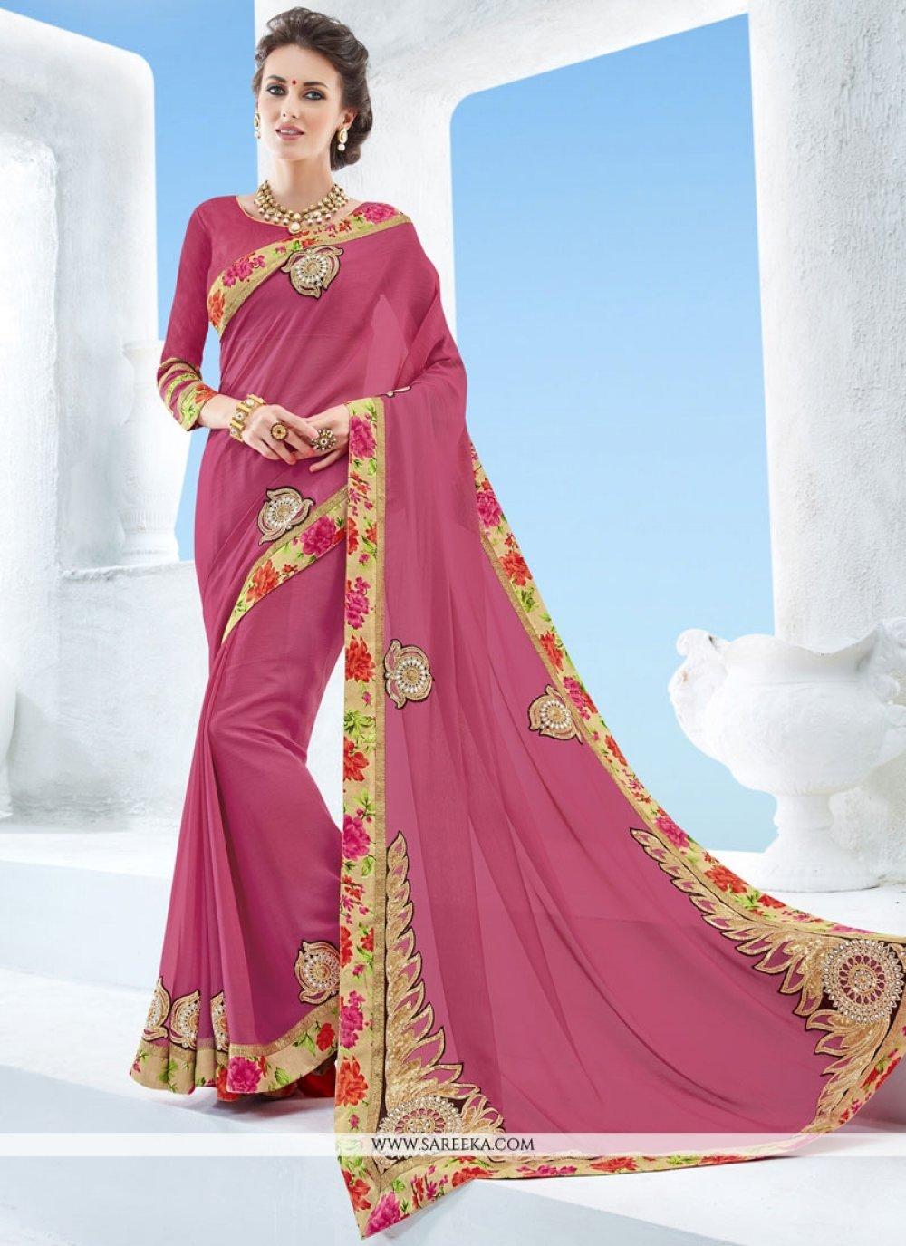 Pink Embroidered Work Classic Designer Saree