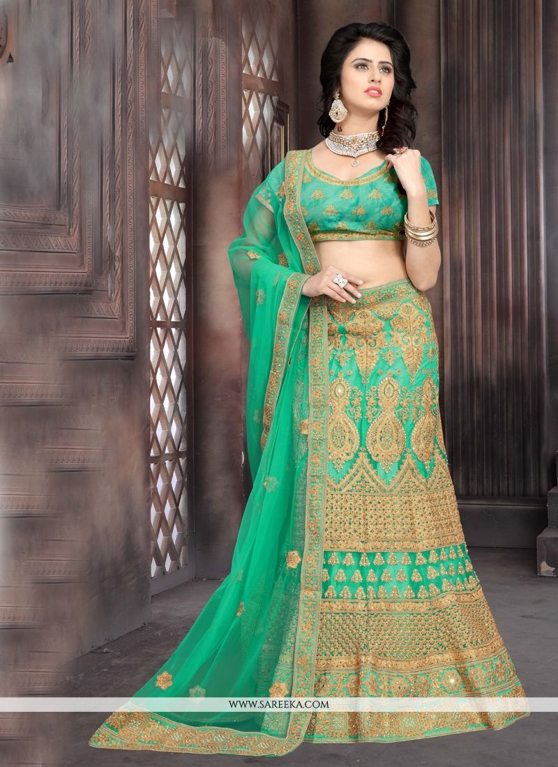Sea Green Lace Work Net Lehenga Choli