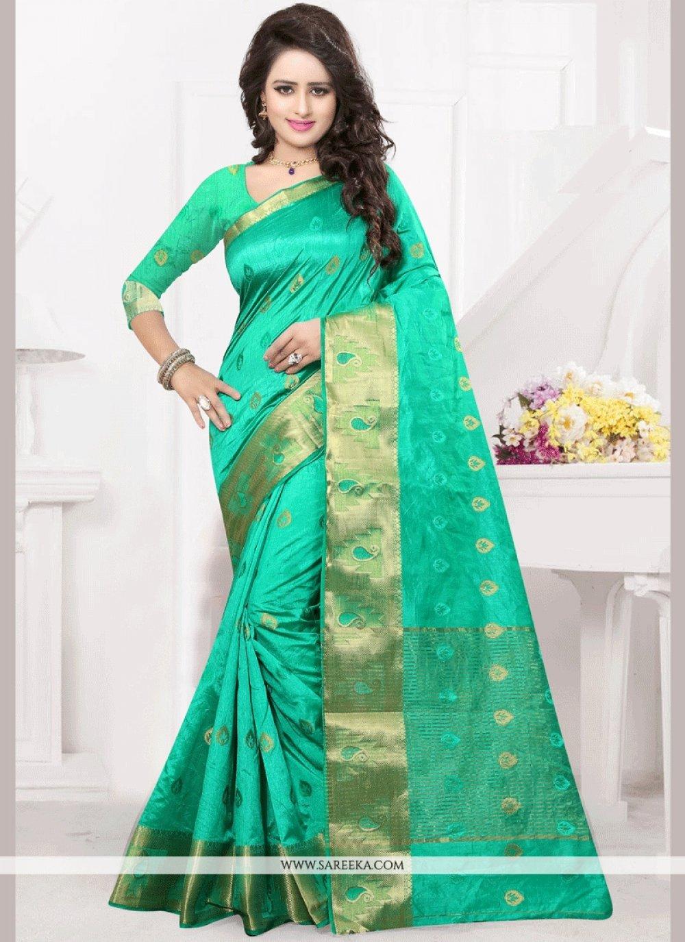 Sea Green Banarasi Silk Traditional Designer Saree