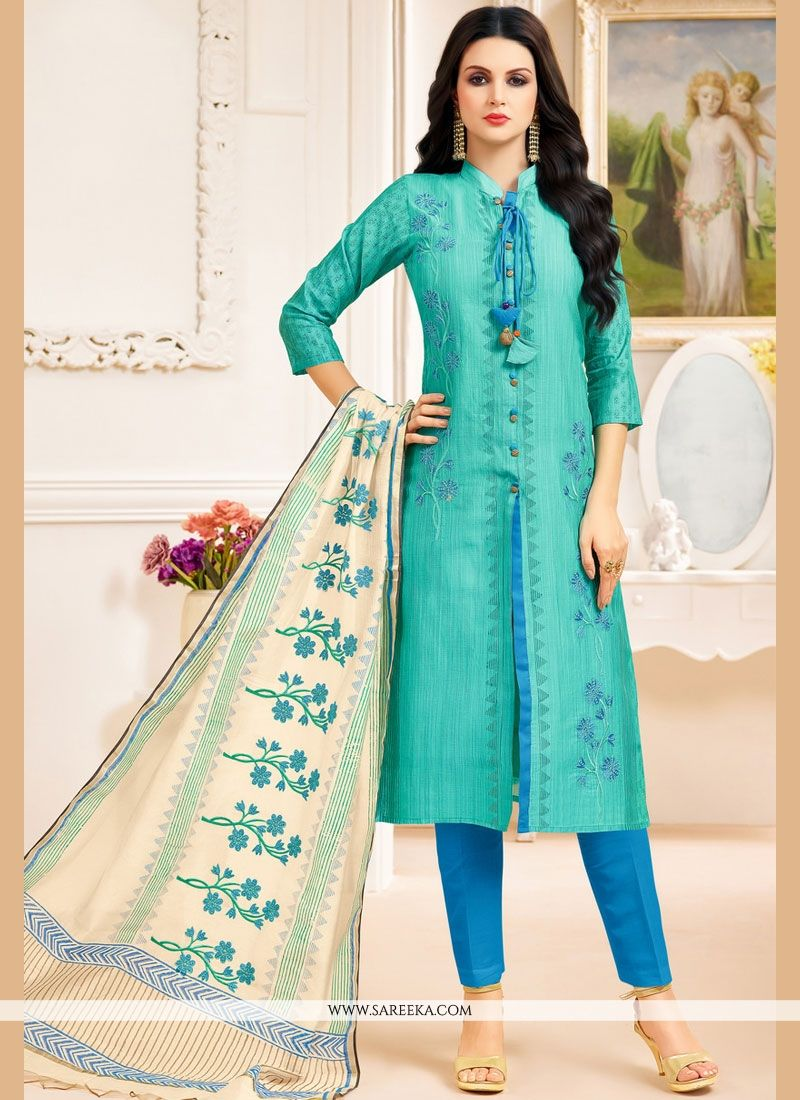 Buy Sea Green Churidar Designer Suit Online : 67556 -