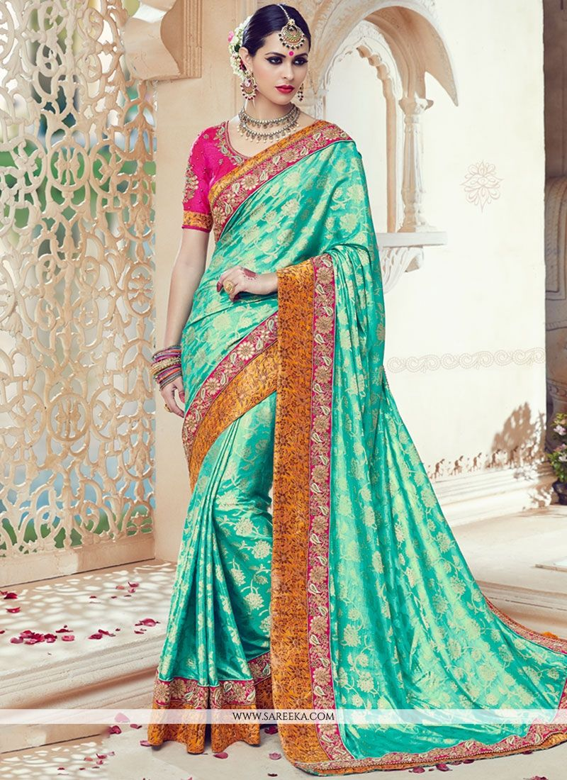 Sea Green Embroidered Work Art Silk Traditional  Saree