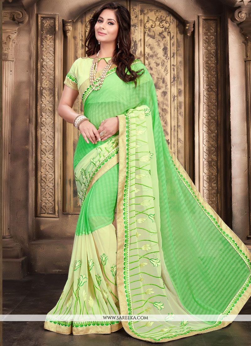 Sea Green Embroidered Work Faux Georgette Classic Saree