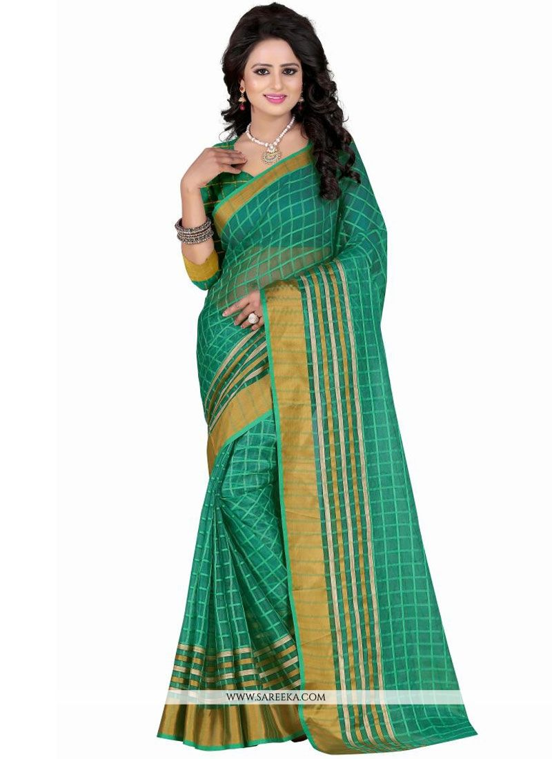 Sea Green Patch Border Work Polly Cotton Casual Saree