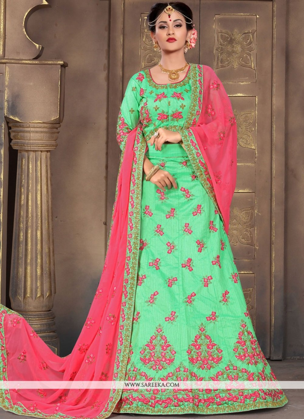 Sea Green Resham Work Lehenga Choli