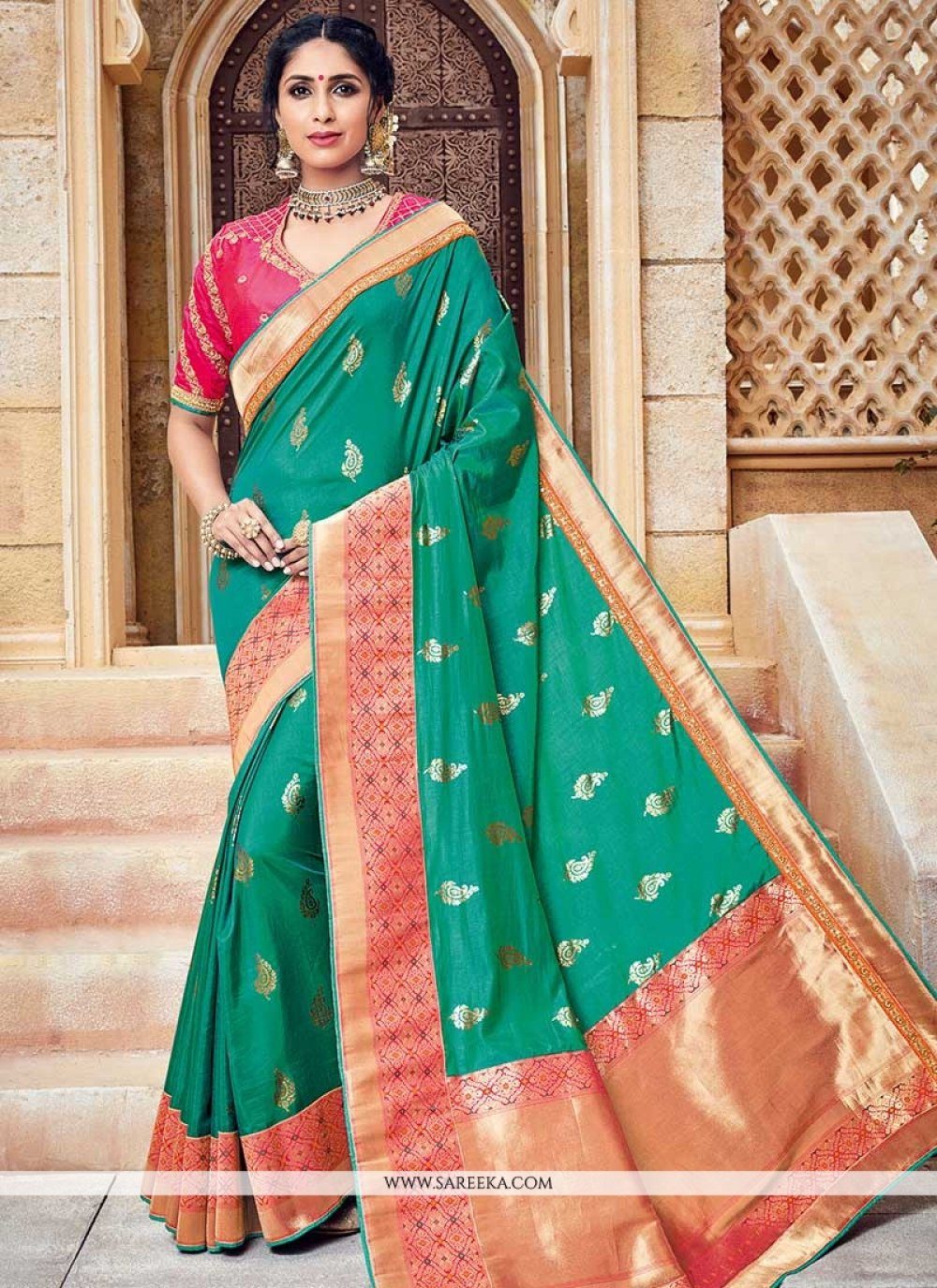 Sea Green Traditional Designer Saree