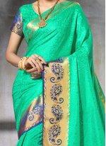 Sea Green Weaving Work Designer Traditional Saree