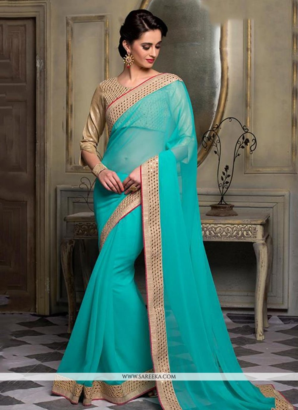 Turquoise Patch Border Work Classic Saree