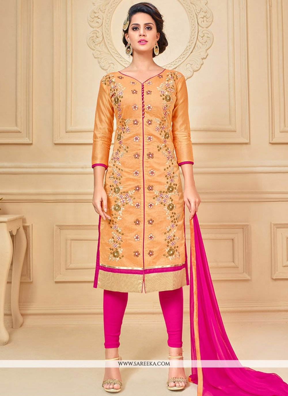 Hot Pink and Peach Lace Work Chanderi Cotton Churidar Suit