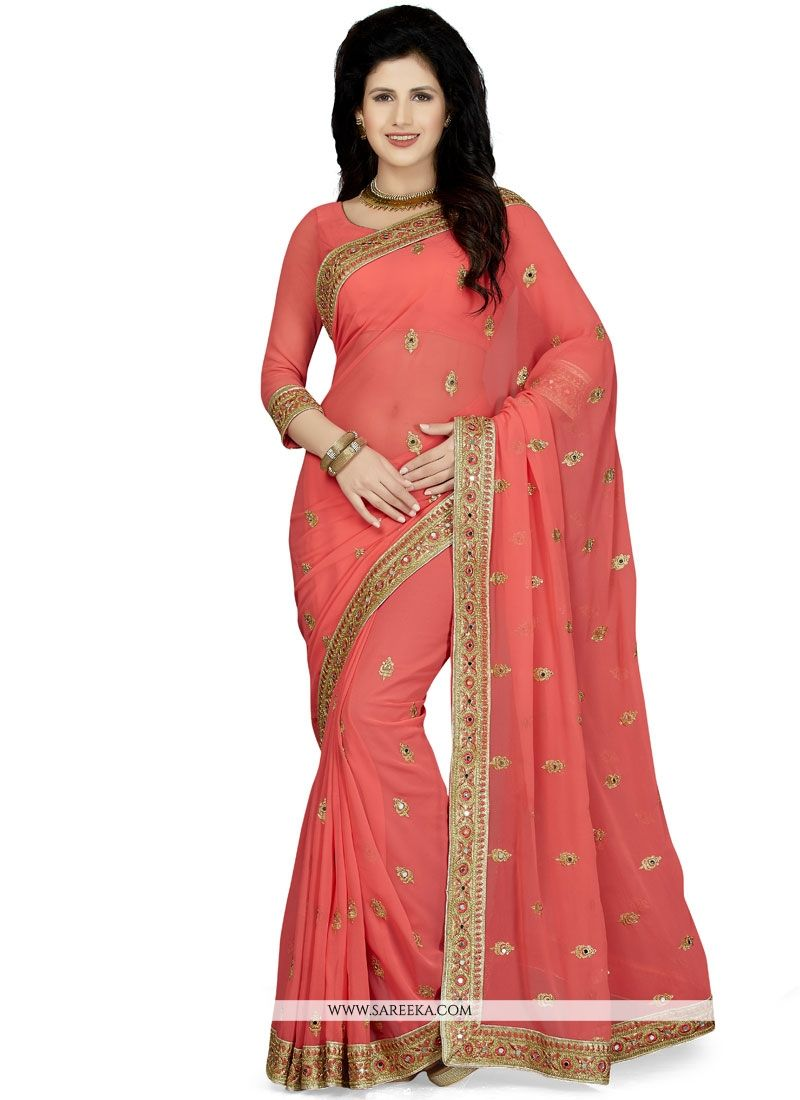 Patch Border Work Rose Pink Saree