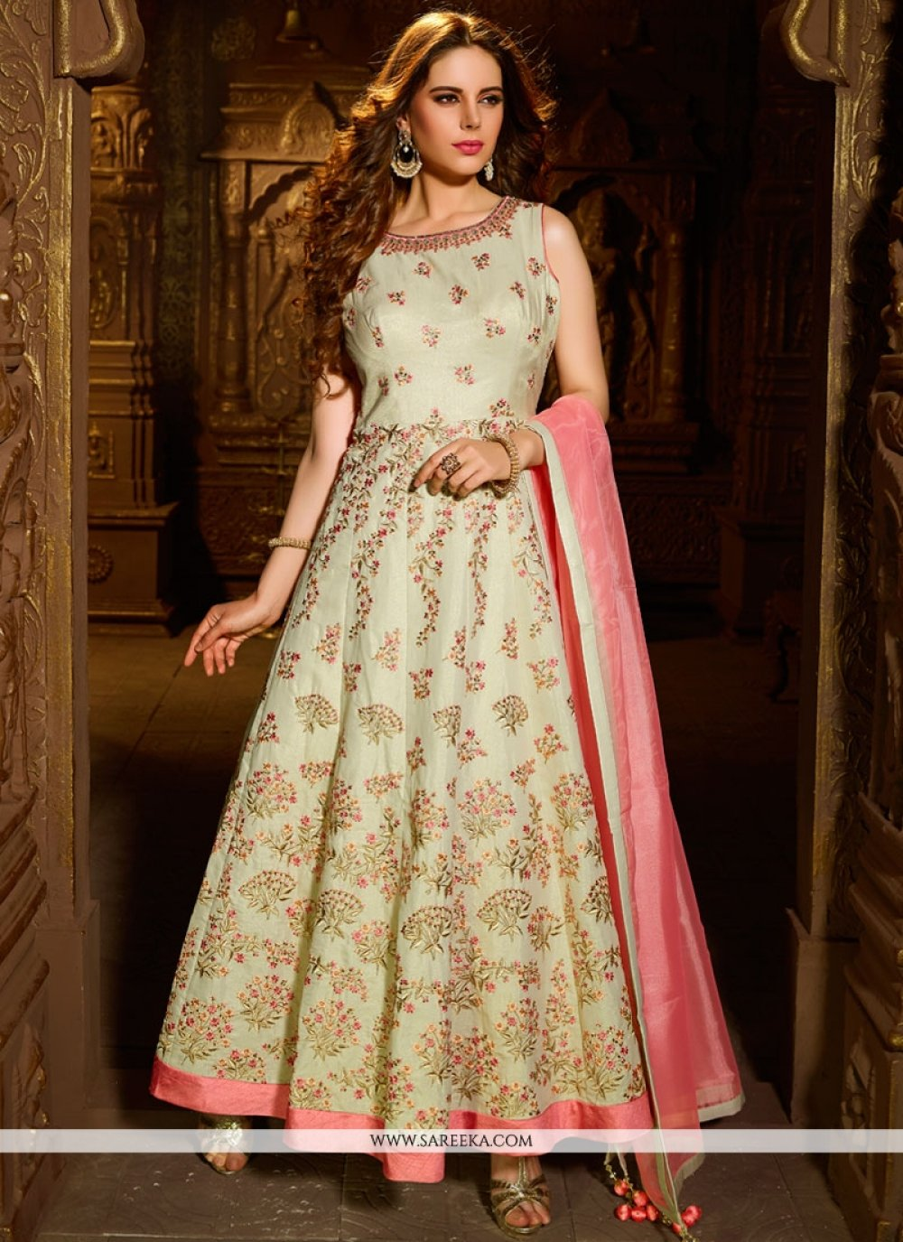 Shimmer Georgette Cream and Pink Resham Work Readymade Suit