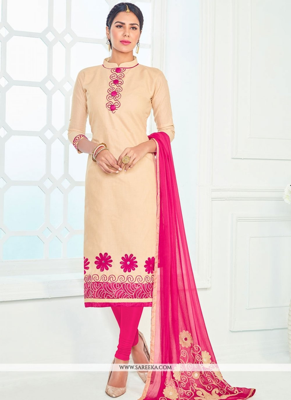 Beige and Hot Pink Cotton   Churidar Suit