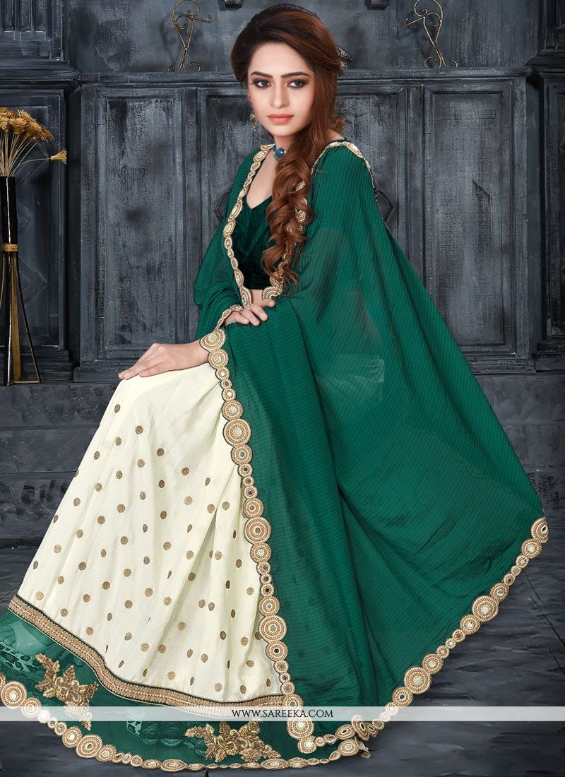 Green and White Mirror Work Designer Half N Half Saree
