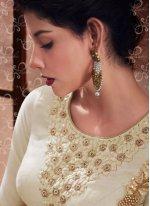 Resham Work Art Silk Beige Anarkali Salwar Kameez